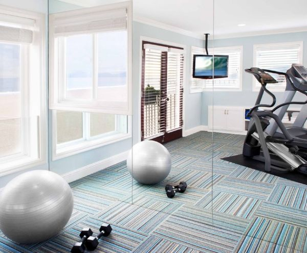 Trendy home gym offers panoramic ocean views