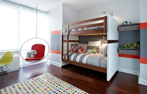 view in gallery trendy kids room with a bubble chair and bunk beds - Boys Room Ideas With Bunk Beds