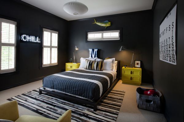 Trendy teen room with uber-cool dark walls