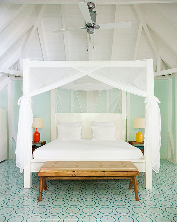 Tropical bedroom with bright accents