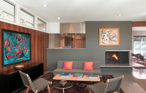 Twin chair arrangement adds more visual symmetry to the room