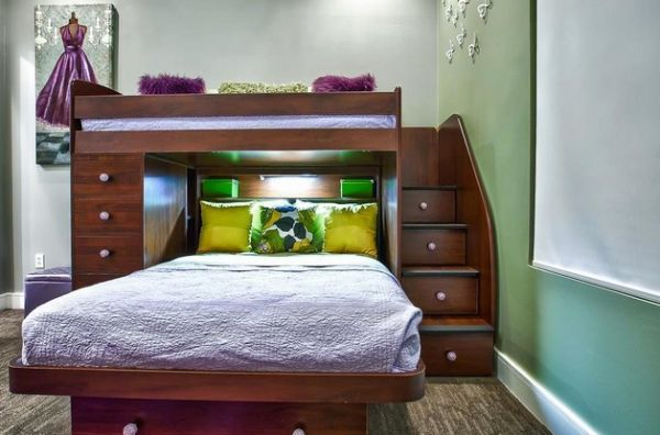 Double Full Bunk Beds with Stairs 600 x 396