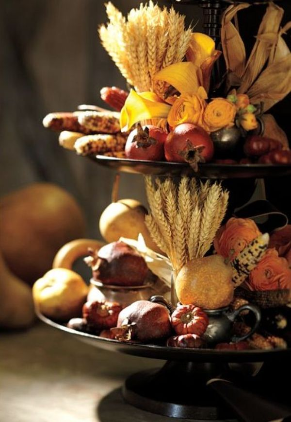 Two-tiered centerpiece with fresh fall produce