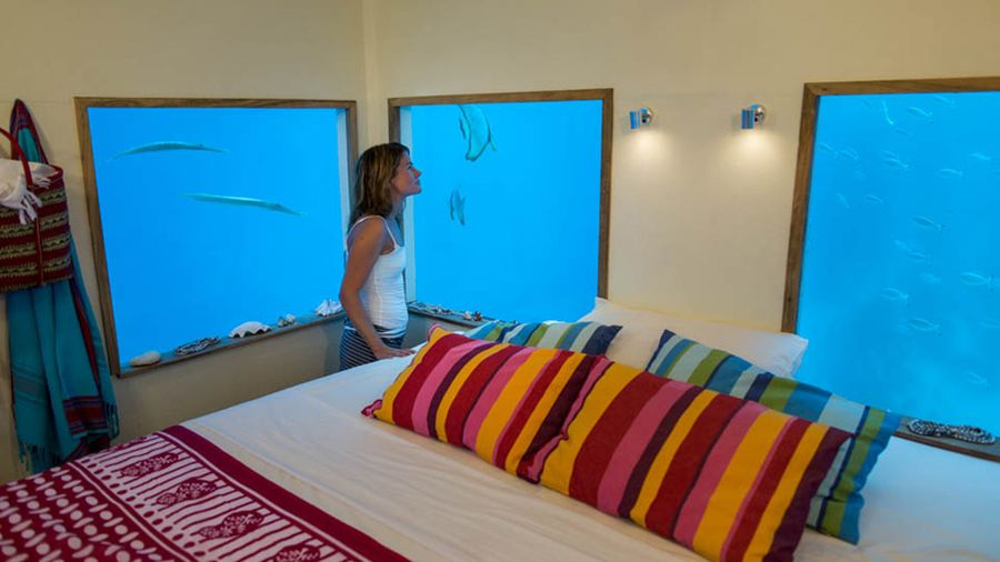 Underwater hotel room at Manta Resort, Africa