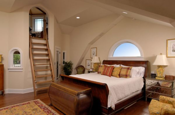 Unique bedroom sports a ladder to the private loft