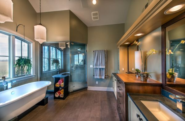 Use the corner space in the bathroom to add a relaxing steam shower