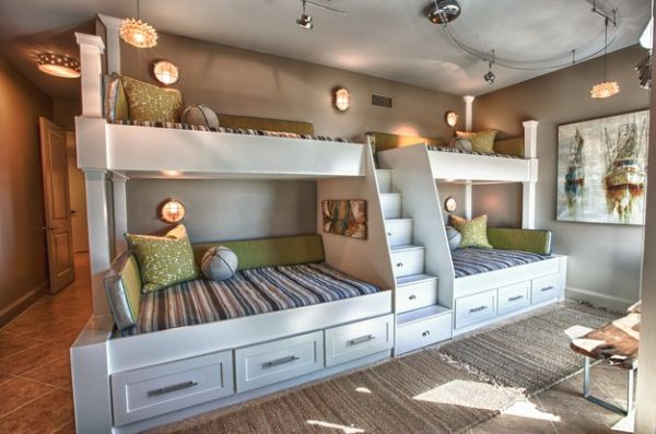 View in gallery Utilize the unique design of the room with custom bunk beds