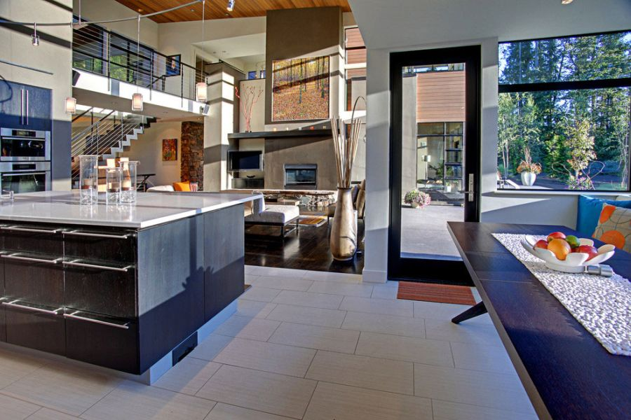 View from the modern kitchen