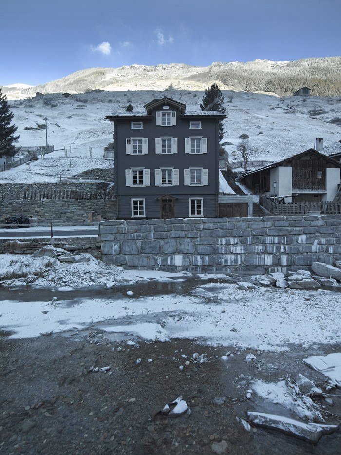 View of Brücke 49 facade in Vals, Eastern Switzerland
