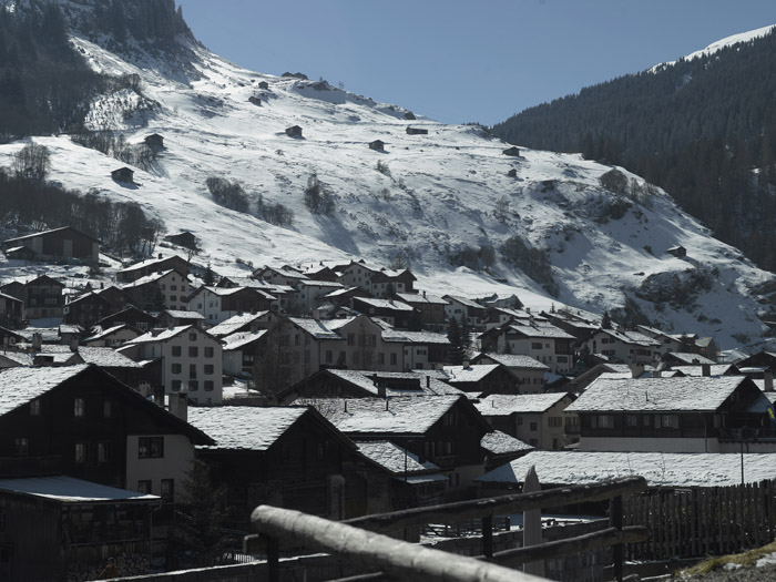 View of village of Vals from the holiday retreat