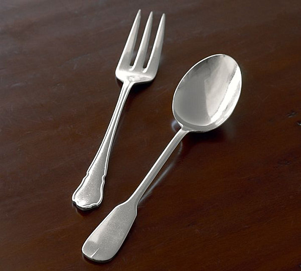 Vintage-style flatware serving set