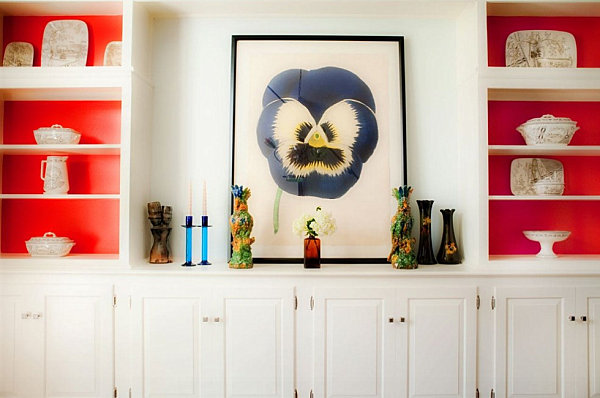 Vivid color on a shelf's interior