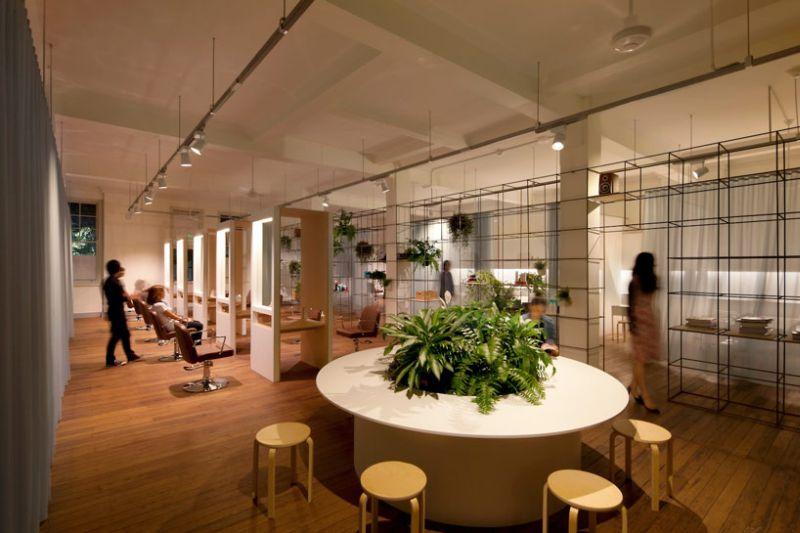Waiting area inside the stylish Sydney hair and beauty salon