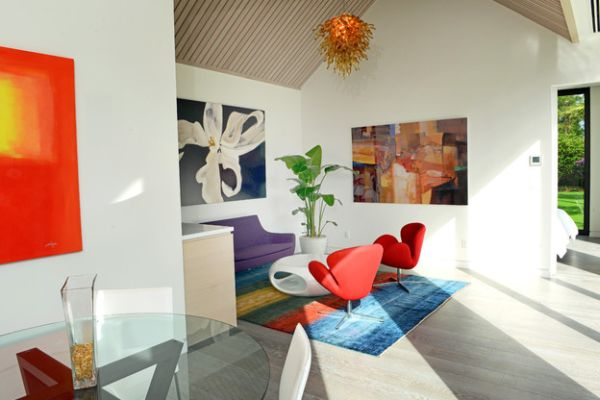 View In Gallery Wall Art Complements The Mid Century Modern Decor Room