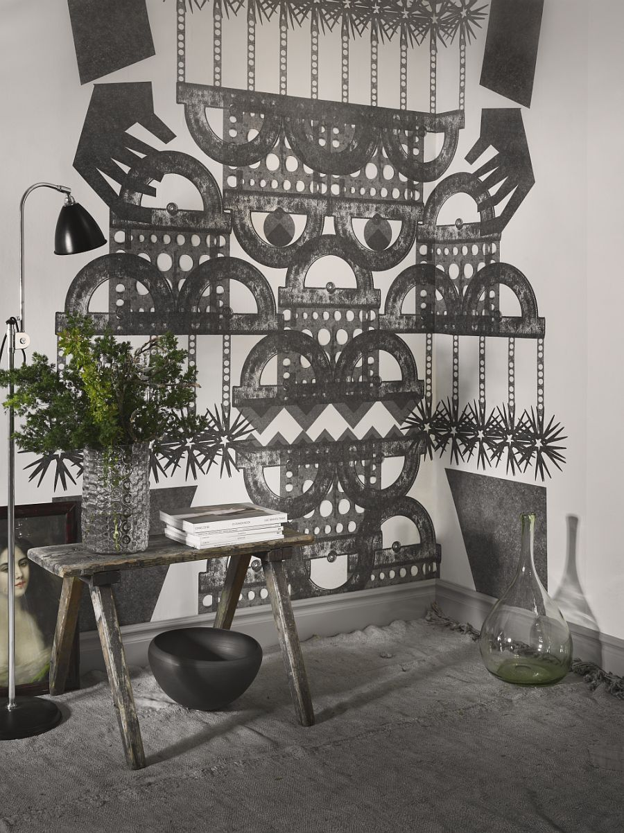Wall mural inspired by ethnic symbols and patterns