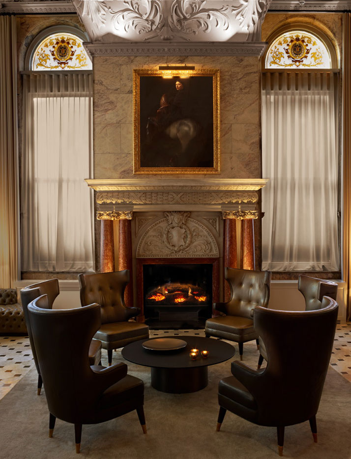 Warm fireplace at the sitting area