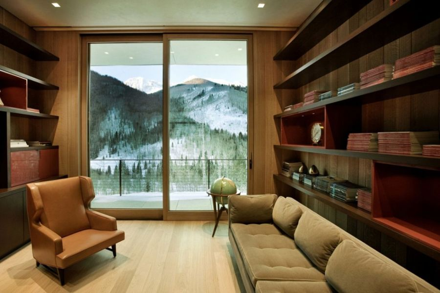 Warm interior with large sliding glass doors