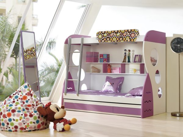 Superieur View In Gallery White And Purple Bunk Bed For Girlsu0027 Bedroom