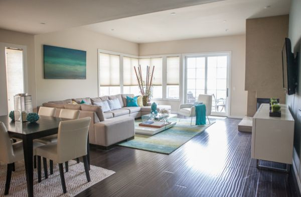 White coupled with turquoise gives the bachelor pad a coastal look