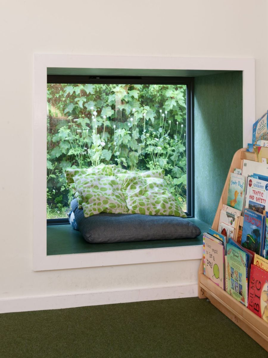 Window nook offers views of the green outdoor