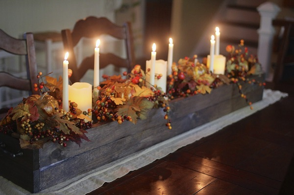 Wooden box Thanksgiving centerpiece