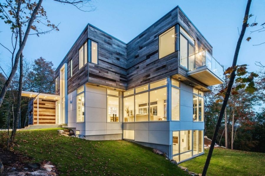 Wooden exterior of modern house Canada