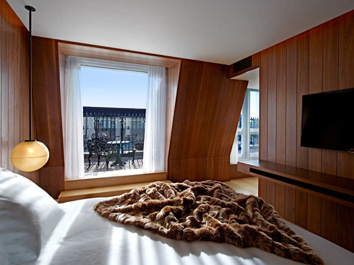 Wooden paneling gives the rooms a warm appeal