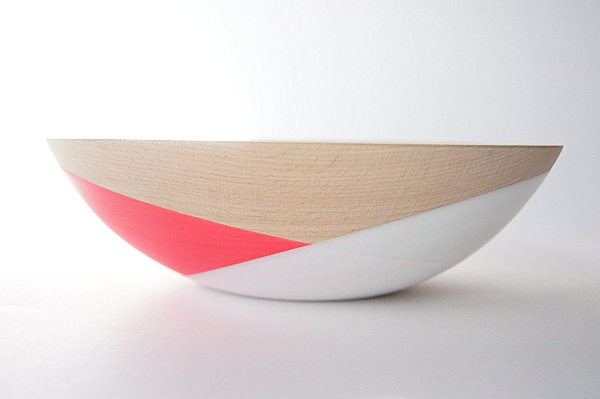 Wooden salad bowl with neon detailing