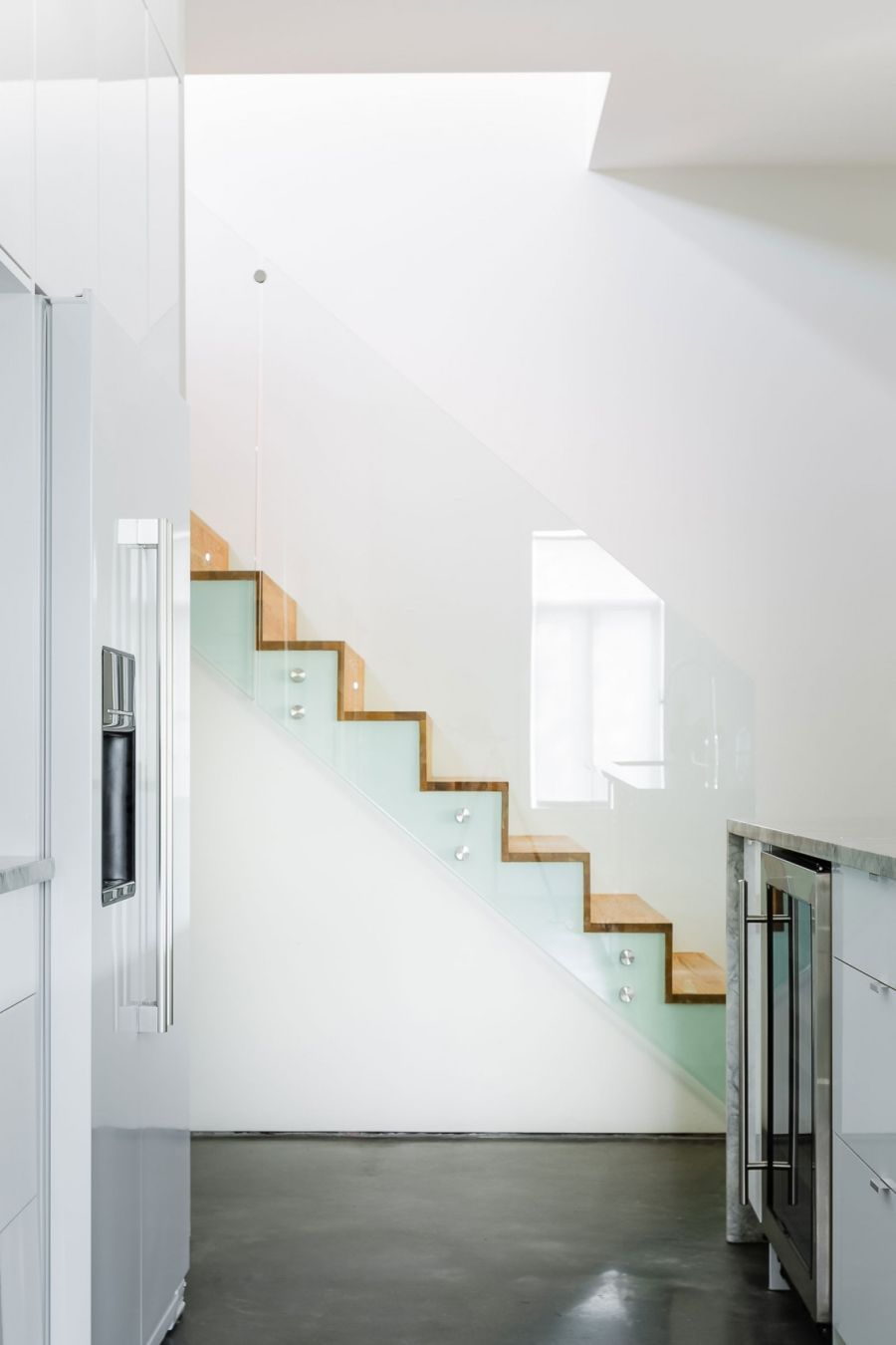 Wooden staircase leading to the second floor