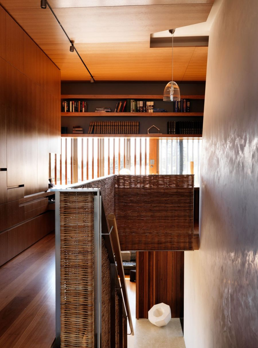 Woven railing adds textural contrast