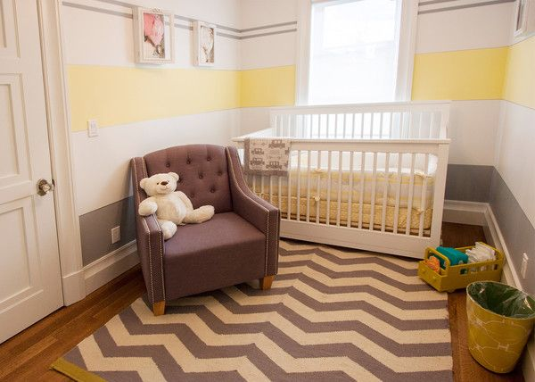 buttercream yellow stripes nursery room