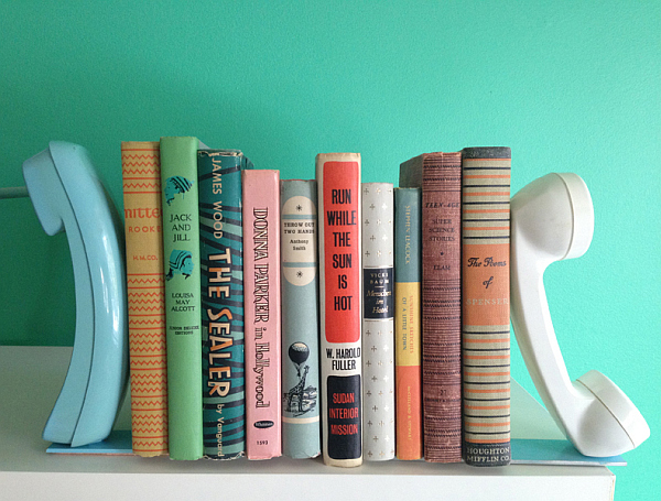 creative diy telephone bookends 10 DIY Inspiring Bookshelf Designs