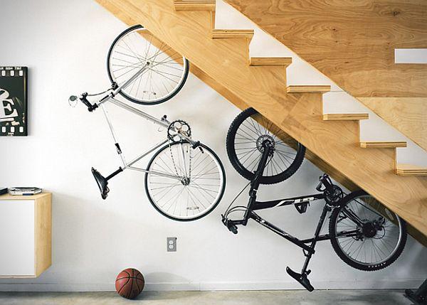 fancy under staircase bike storage