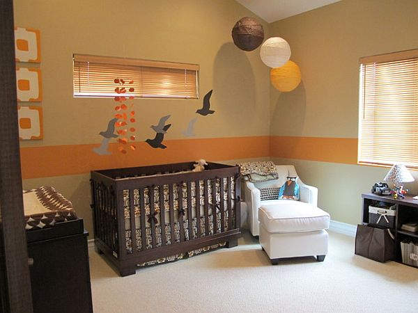 nursery with orange painted walls
