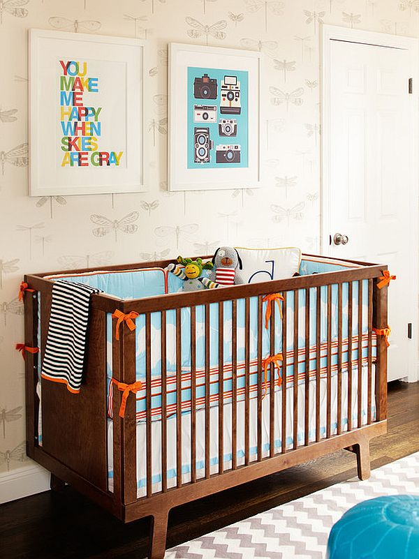 orange accents nursery room