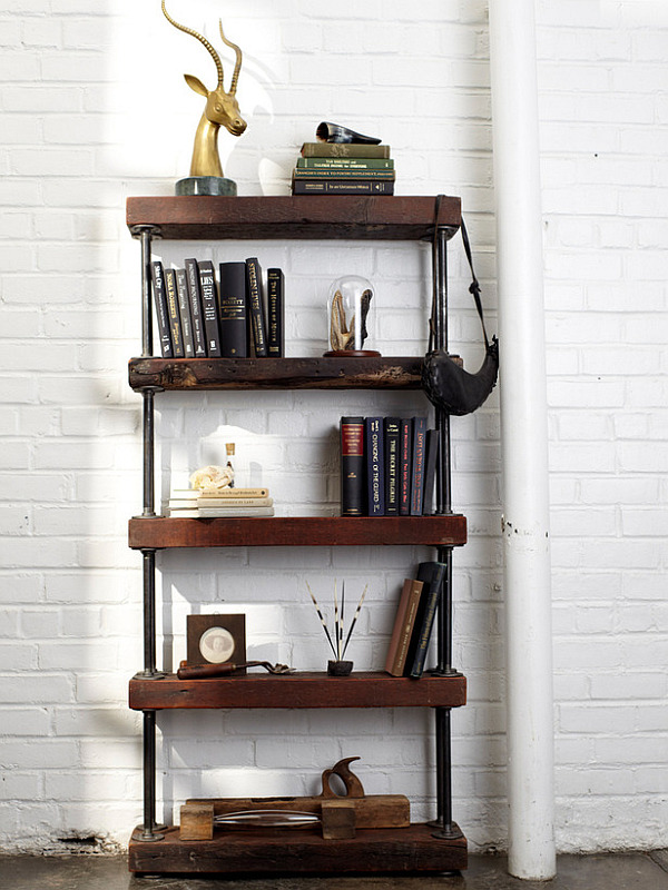 ... idea for a rustic, industrial style bookshelf comes to us from HGTV
