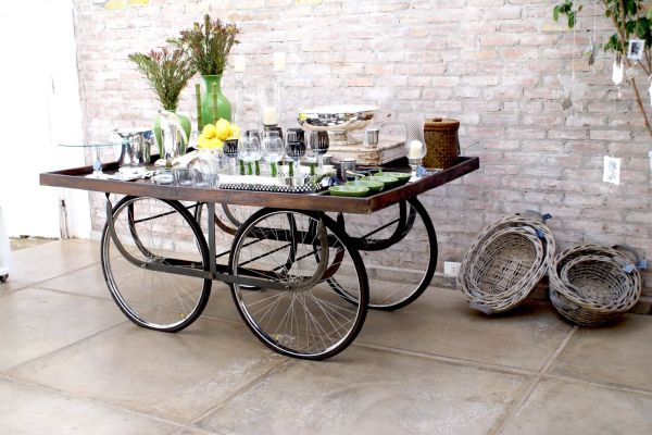 upcycled bicycle parts turned table