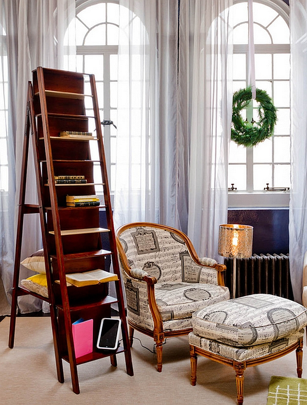 A ladder bookcase to comeplet your reading nook