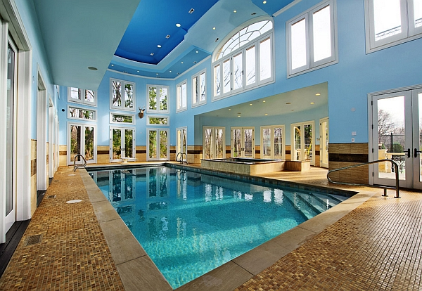 A multitude of windows surround the indoor pool