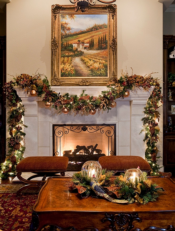 Add a hint of brown and green to the green decorations