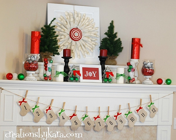 Advent calenders are a great idea to decorate the mantel well before Christmas
