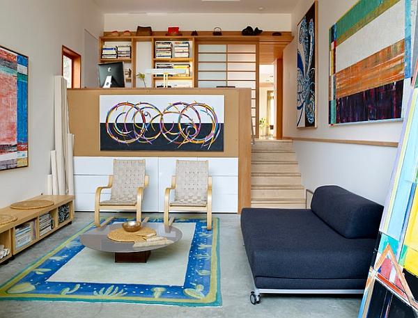 Art-filled mezzanine level used as a creative hub
