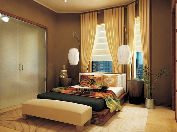 Asian inspired bedroom with unique lighting