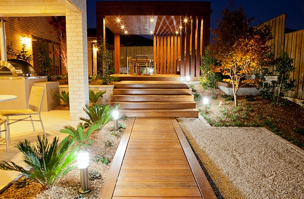 Asian styled outdoor space in Sydney A Trail of Lights To Surround the Home in Brilliance