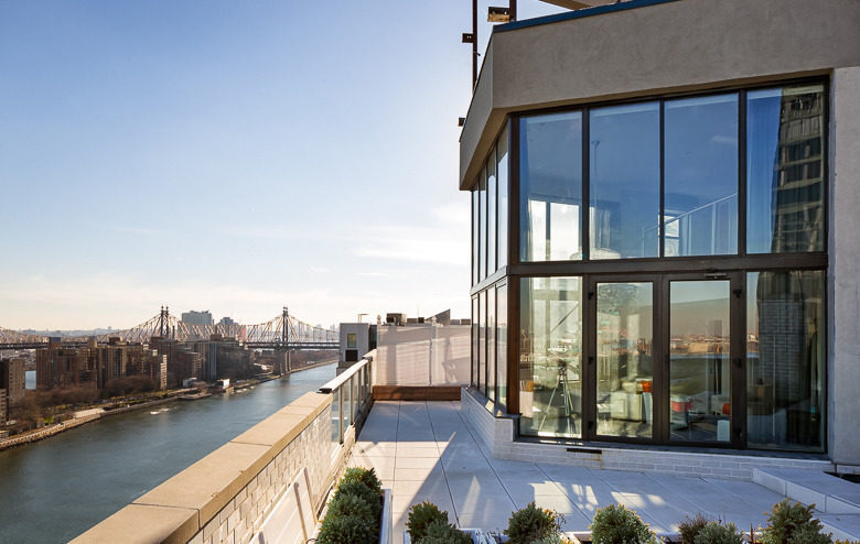 Balcony in New York City penthouse overlooking East River
