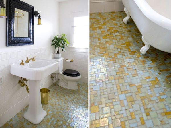 Bathroom with colored tiling