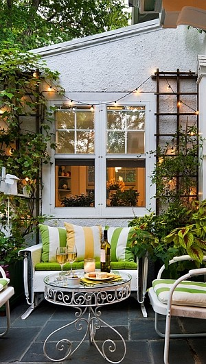 Beautiful porch with string lights in the backdrop