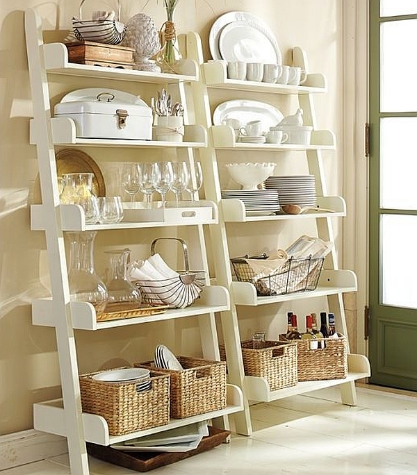 Beautifully decorated modern ladder shelves