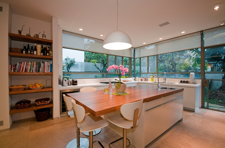 Beautifully lit kitchen island
