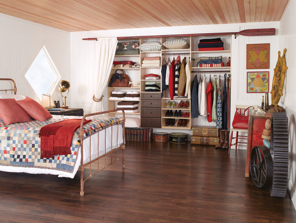 Beautifully organized closet in a rustic space